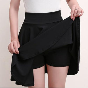 Casual High Waisted Skater Skirt With Shorts Skirt MojoTrend Black XXL