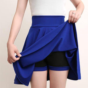 Casual High Waisted Skater Skirt With Shorts Skirt MojoTrend Blue XXL