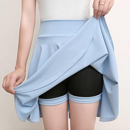 Casual High Waisted Skater Skirt With Shorts Skirt MojoTrend light blue XXL