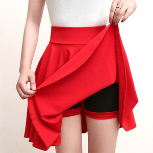 Casual High Waisted Skater Skirt With Shorts Skirt MojoTrend Red XXL