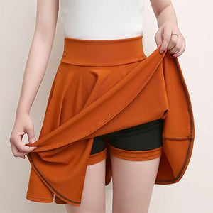 Casual High Waisted Skater Skirt With Shorts Skirt MojoTrend Orange XXL