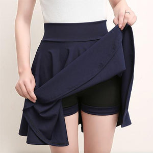 Casual High Waisted Skater Skirt With Shorts Skirt MojoTrend dark blue XXL