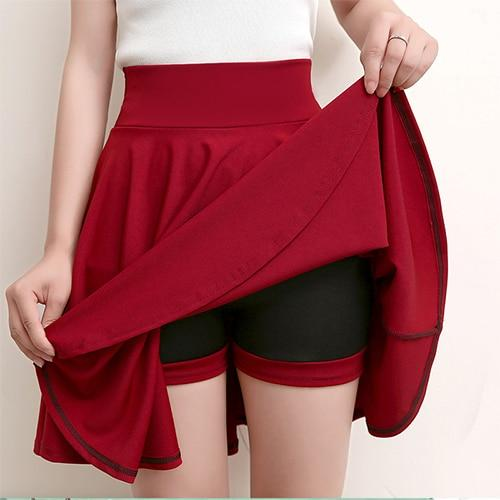 Casual High Waisted Skater Skirt With Shorts Skirt MojoTrend Burgundy XXL