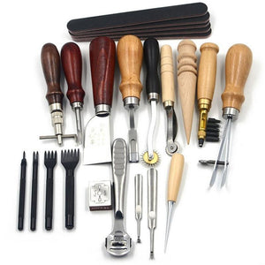 18 Pcs Leather Tools Craft Punch Working Stitching Carving Kit Leather Tools MojoTrend