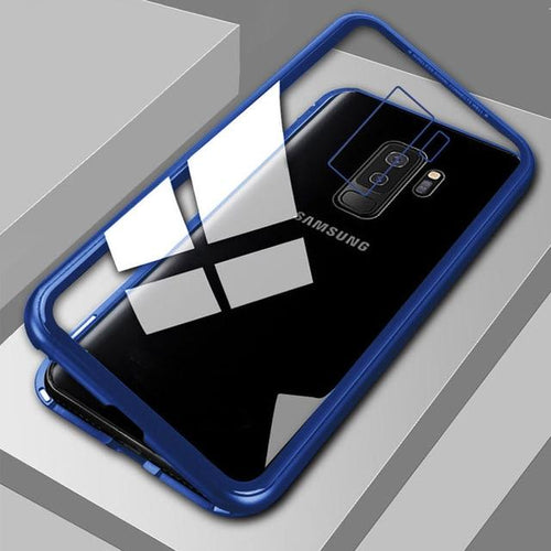Tempered Glass Magnetic Cell Phone Case for Android iPhone Samsung Magnetic Cell Phone Case MojoTrend Transparent Blue For Galaxy S8