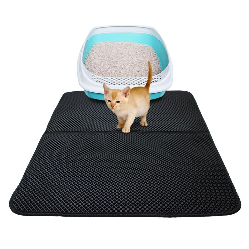Kitty Cat Litter Box Mat - Pet Double-Layer Trapper Rug Litter Mat MojoTrend Black Foldable 18.1 x 23.6 in