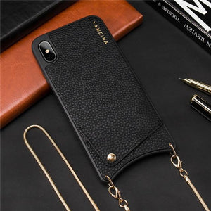 Crossbody Wallet Leather Phone Case For iPhone Phone Case MojoTrend for iPhone X or Xs Metal Chain