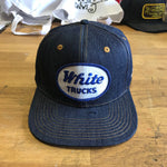 "VINTAGE 1970's ""White Trucks "" Patch - 14oz TEXAS Denim Snapback HAT Blank"
