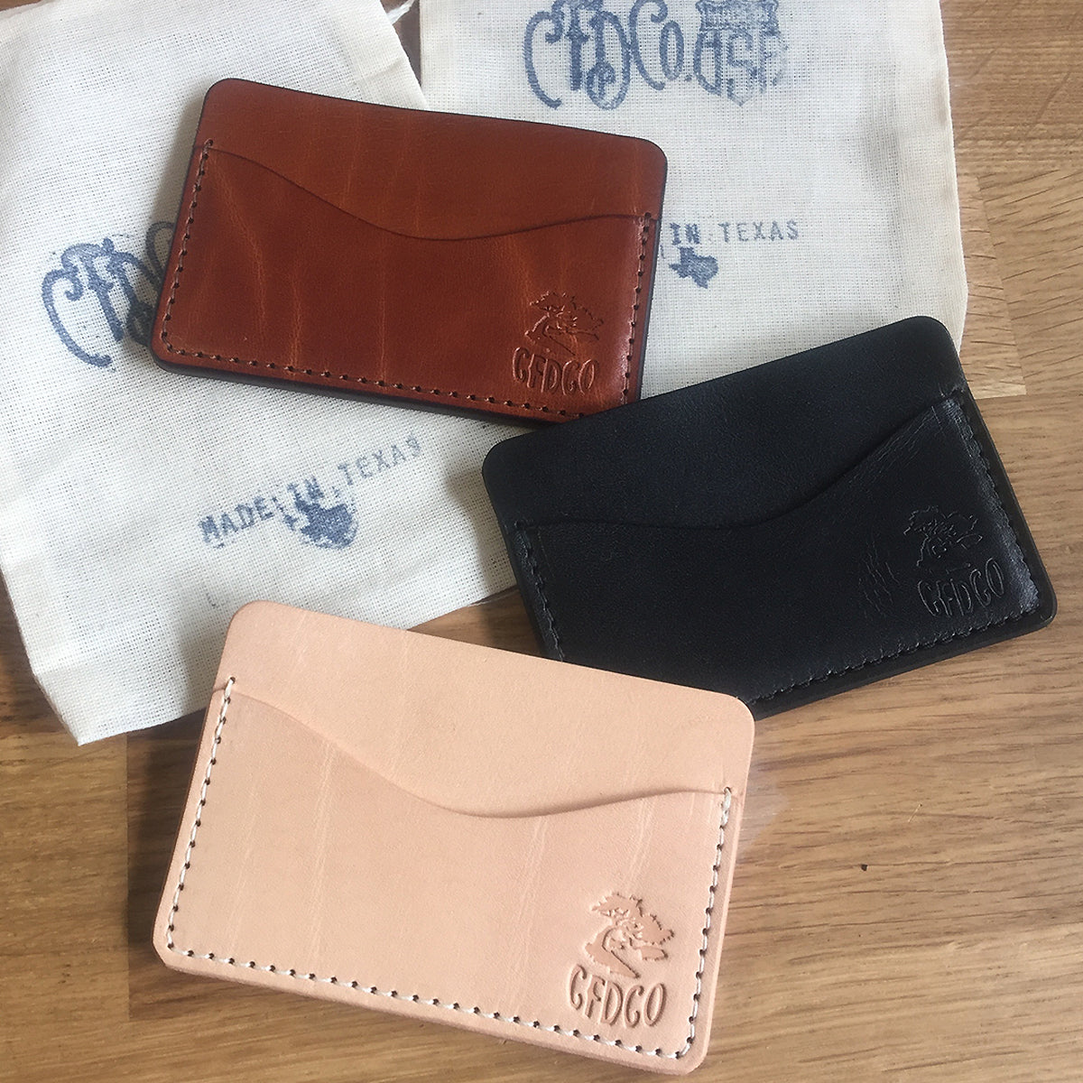 5oz TEXAS Leather Credit Card Wallet BLACK