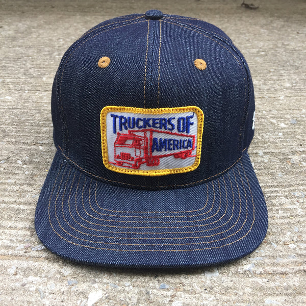 "VINTAGE 1970's ""Truckers of America"" Patch - 14oz TEXAS Denim Snapback HAT Blank"