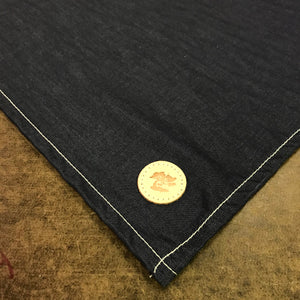 100% Cotton Handkerchief JPN Indigo Chambray Large 27.5 x 27.5 CFDCo Embroidery