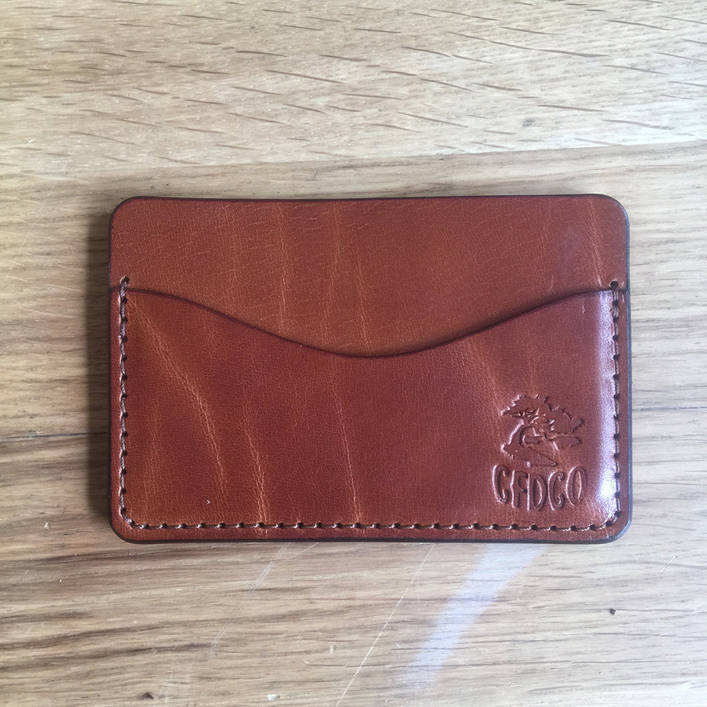5oz TEXAS Leather Credit Card Wallet BROWN
