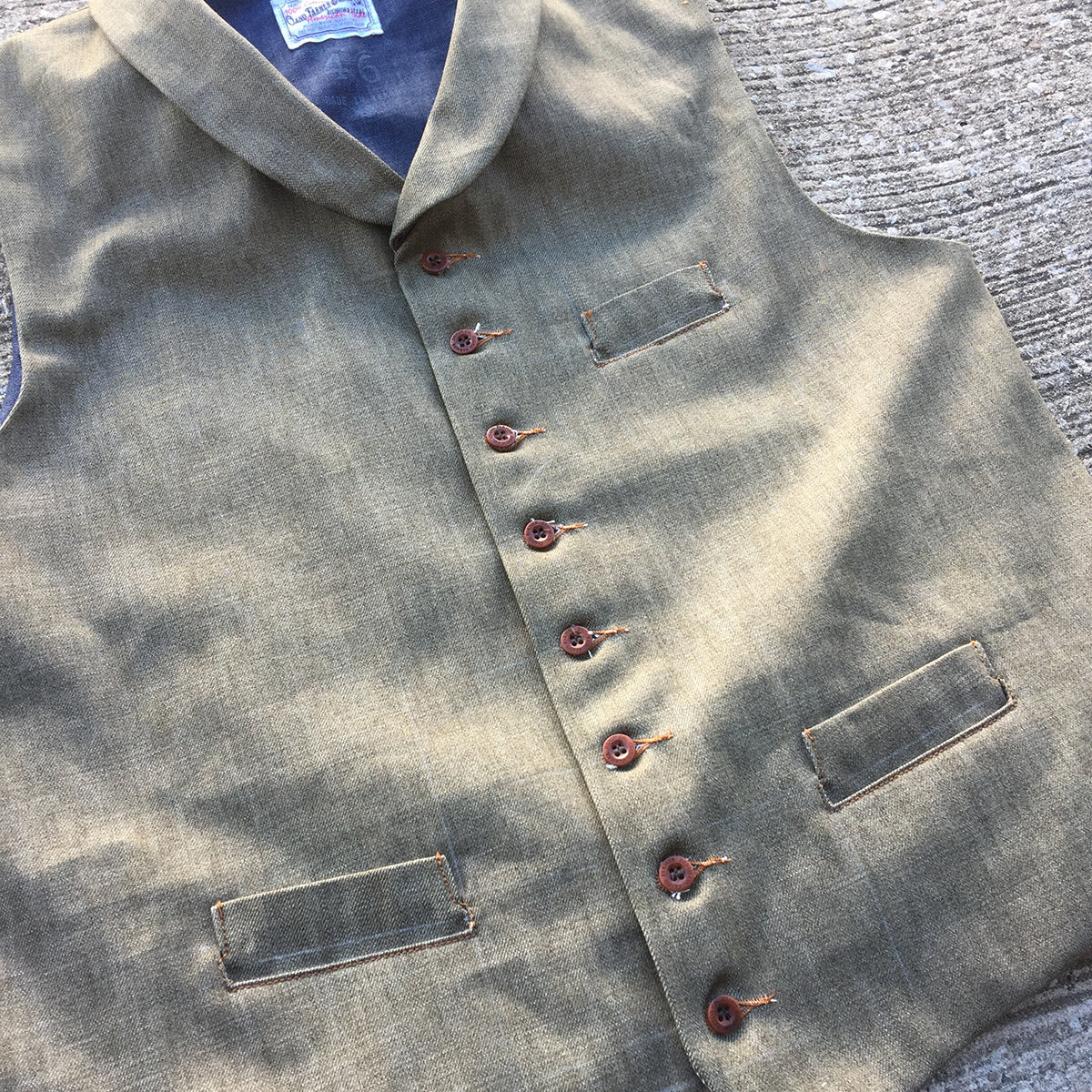 14oz Japanese Brown Persimmon Red Selvage Denim Type D Waistcoat