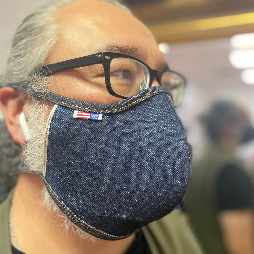 "CFDCo ""Baine"" Face Mask w/ pocket filter 100% Cotton 13.5oz Cone Mills Selvage Denim"