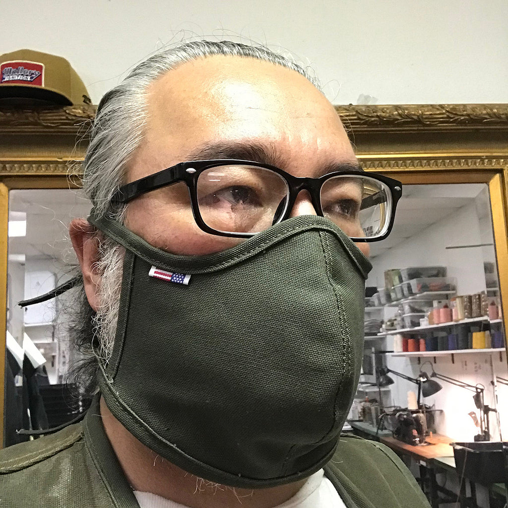 "CFDCo ""Baine"" Face Mask w/ pocket filter 100% Cotton 12oz Duck Canvas-Moss Green"