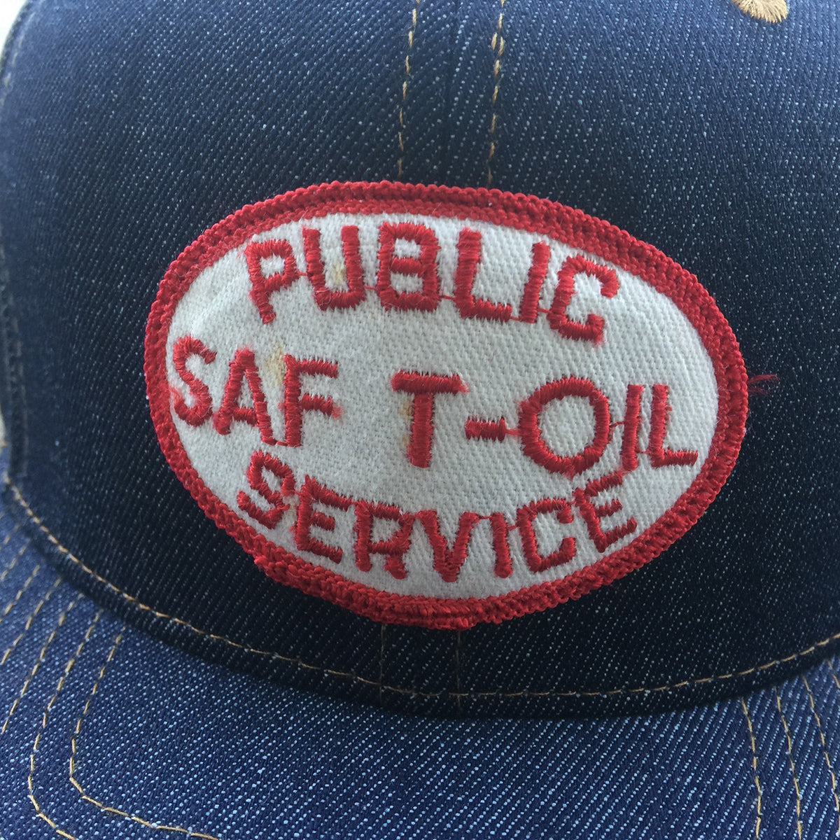 "VINTAGE 1970's ""Public SAF T-OIL Service "" Patch - 14oz TEXAS Denim Snapback HAT Blank"
