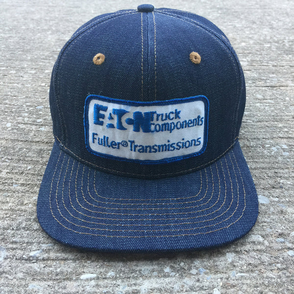 "VINTAGE 1960's ""EATON Truck Components"" Patch - 14oz TEXAS Denim Snapback HAT Blank"
