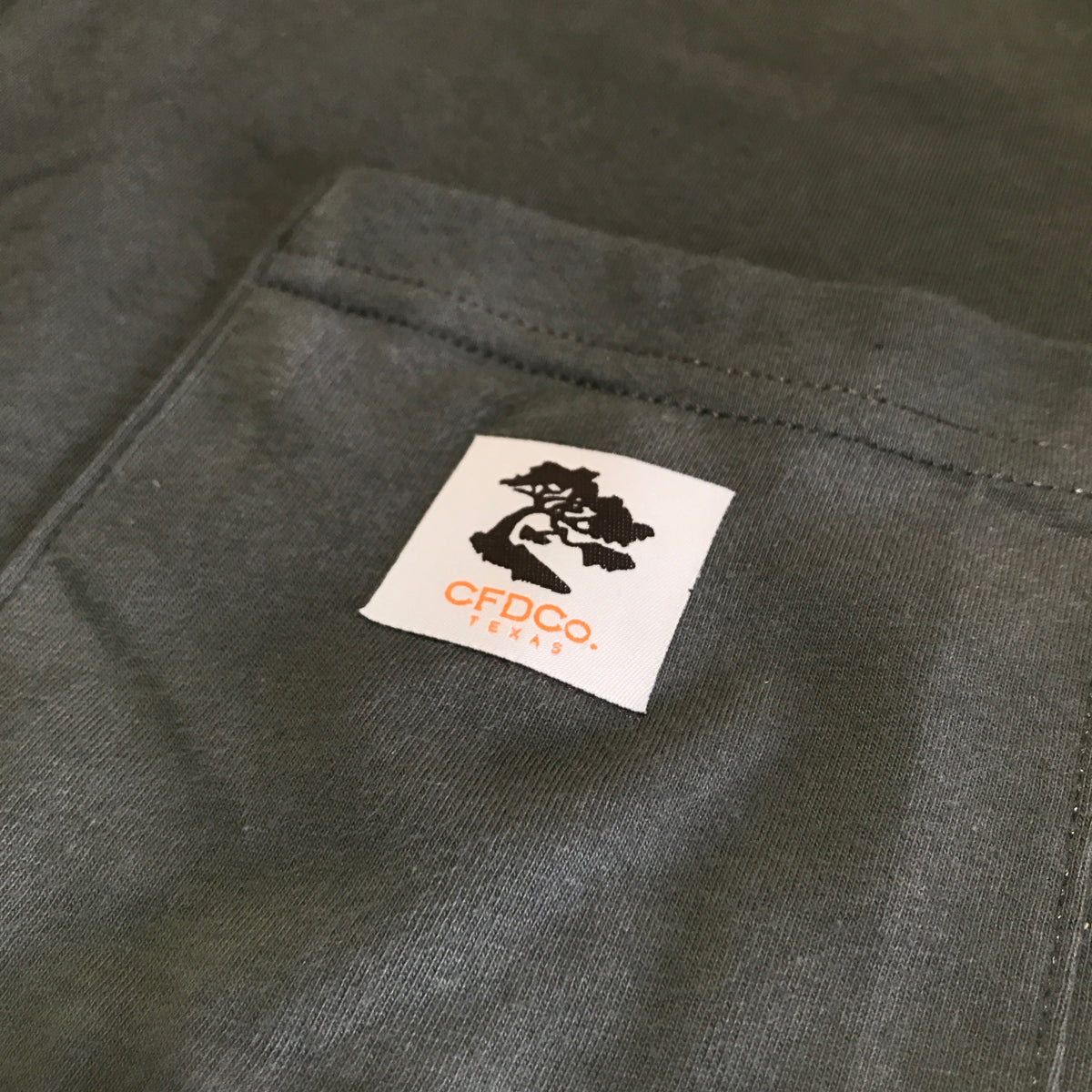 "4.4oz TEXAS MADE "" Workman Pocket "" Crew Neck Olive"