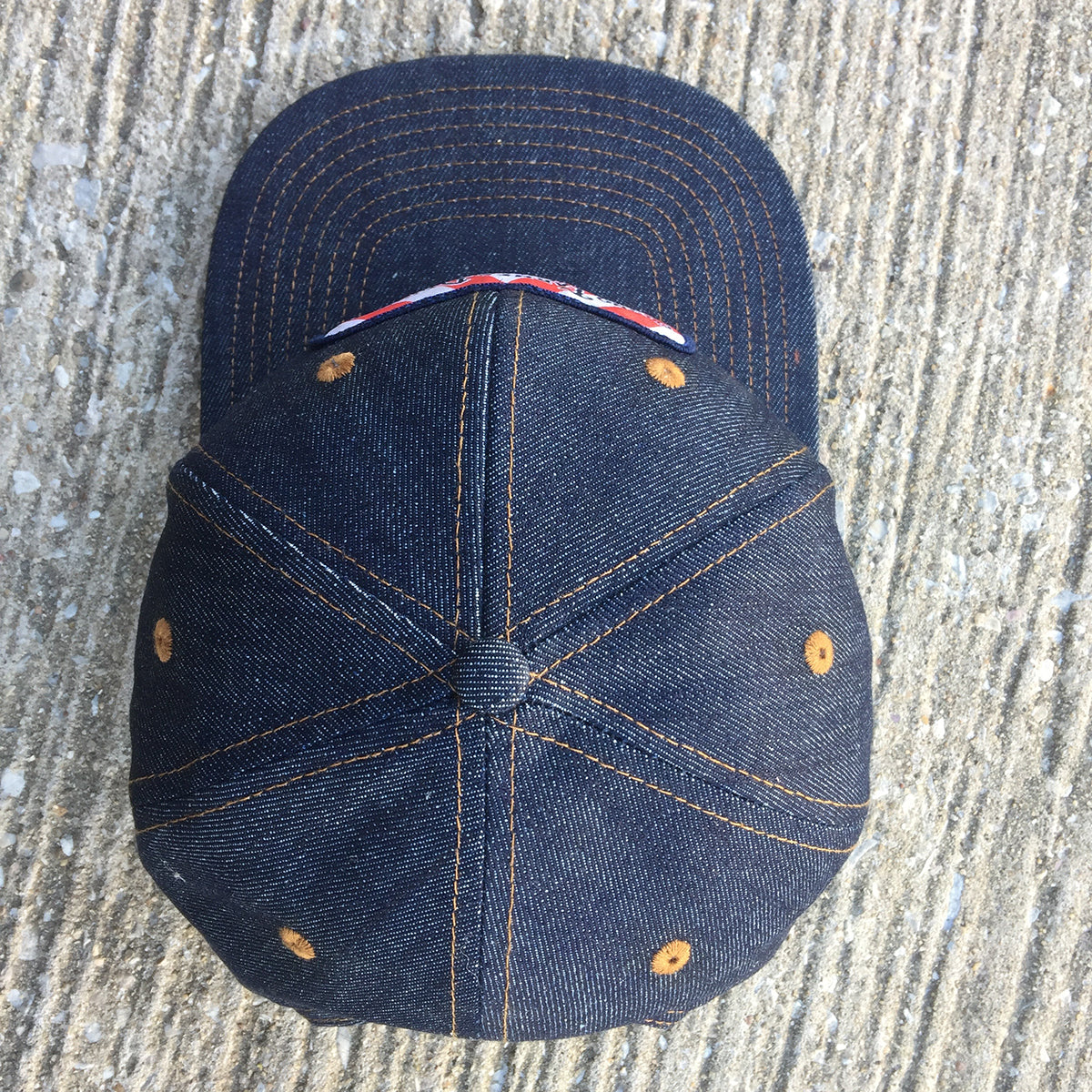 14oz TEXAS Denim Snapback HAT Circle Ranch Leather Patch