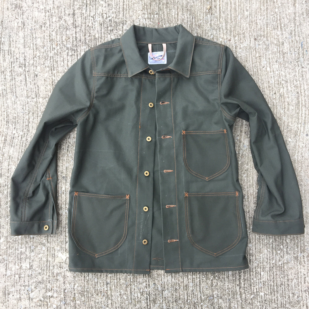 OPSTK CUSTOM Lee Style Modify 12oz Moss Green Duck Canvas Car Coat XS CUSTOM Reg Fit
