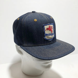 "VINTAGE 1950's ""Mobile Gas"" Patch - 14oz TEXAS Denim Snapback HAT Blank"