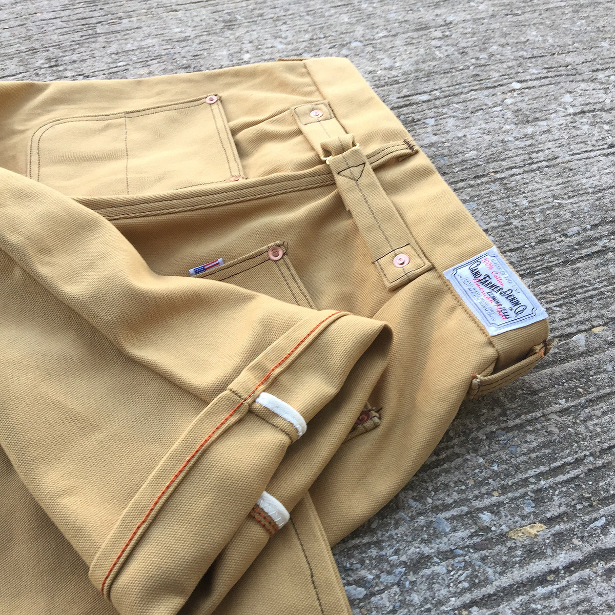 18oz Duck Canvas OCHRE FIELD HAND Chino [ Back Patch Pockets ]