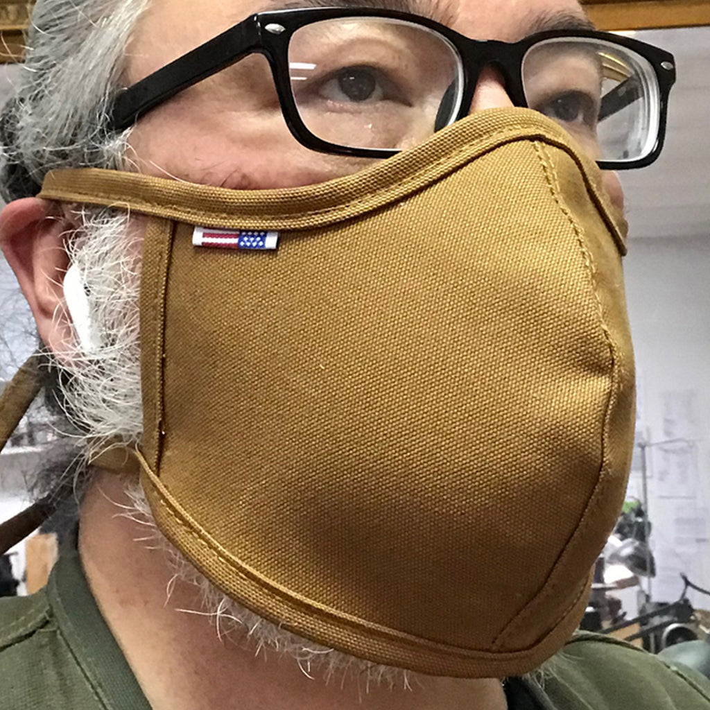 "CFDCo ""Baine"" Face Mask w/ pocket filter 100% Cotton 12oz Duck Canvas-Ochre"