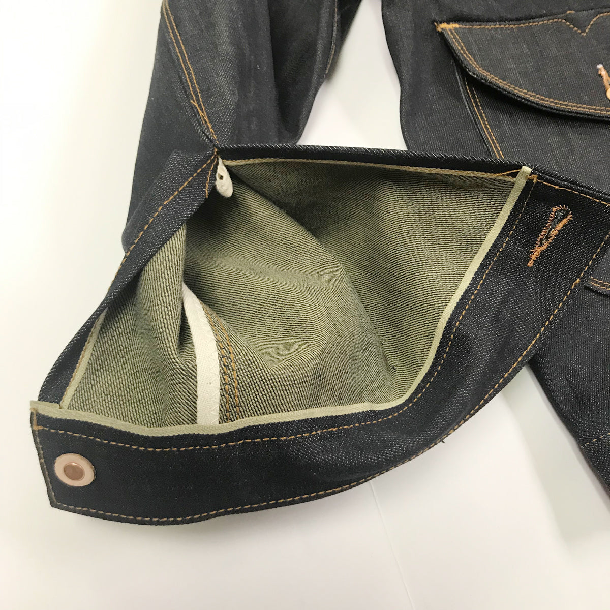 14oz USA Cone Mills Natural indigo Cattleman Racer Jacket Selvage Denim