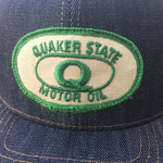 "VINTAGE 1970's ""Quaker State"" Patch - 14oz TEXAS Denim Snapback HAT Blank"