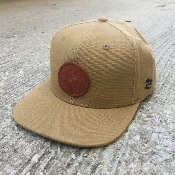 12oz USA Duck Canvas Snapback HAT Circle Ranch Leather Patch
