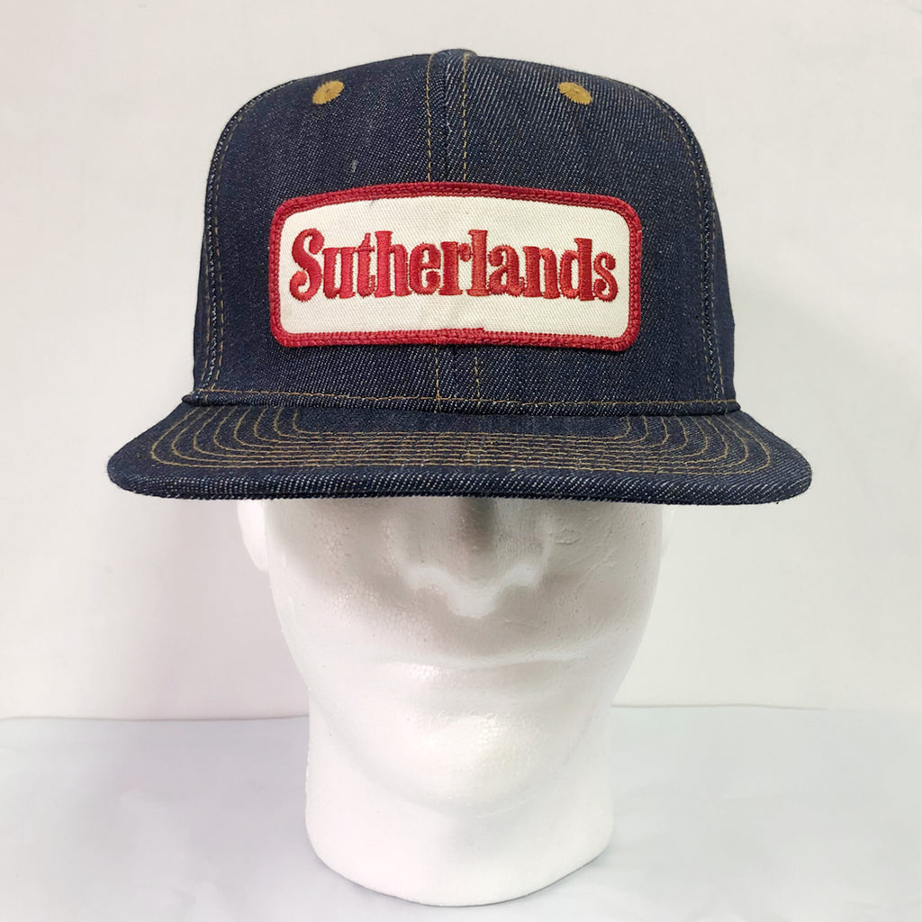 "14oz TEXAS Denim Snapback HAT 70's ""Sutherlands"" Patch"