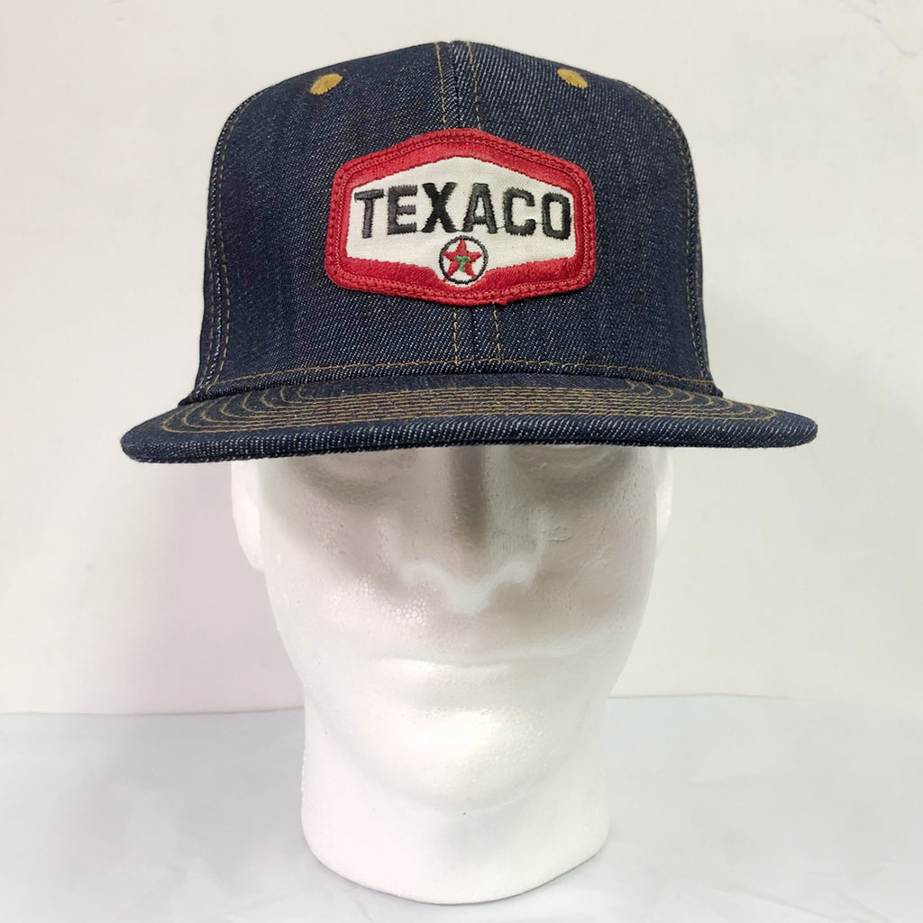 "14oz TEXAS Denim Snapback HAT 70's ""Texaco"" Patch"