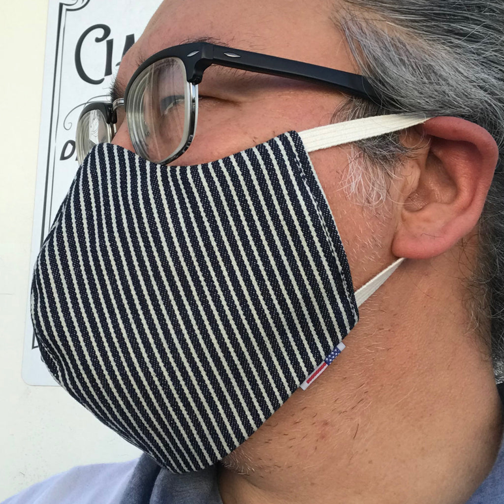 "CFDCo ""ELASTIC Baine"" Face Mask Type2 100% Cotton 10oz USA Denim Hickory Stripe"