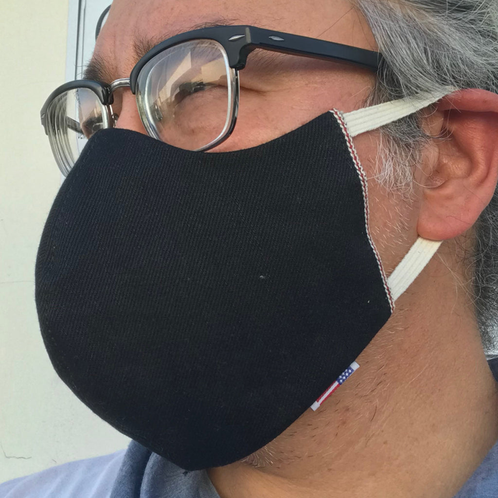 "CFDCo ""ELASTIC Baine"" Face Mask Type2 100% Cotton 14oz Italian Double Black Red/White Selvage"