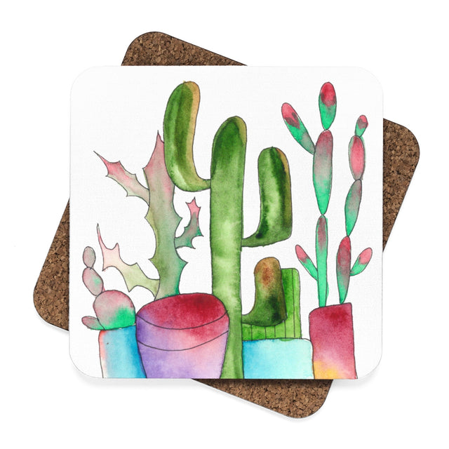 Cactus Family F Hardboard Coaster Set - 4pcs, Home Decor - Gravitational Pull Art