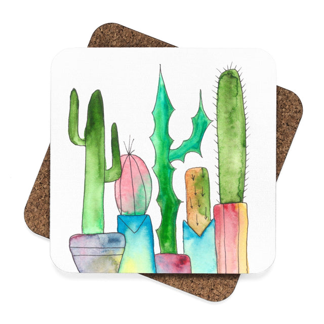 Cactus Family H Hardboard Coaster Set - 4pcs, Home Decor - Gravitational Pull Art