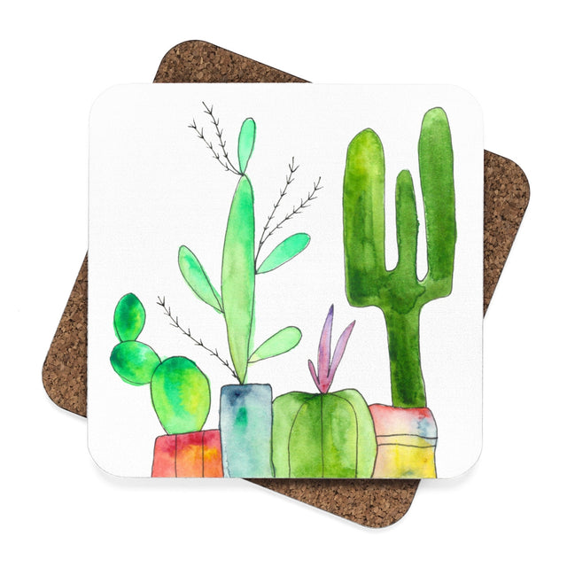 Cactus Family A Hardboard Coaster Set - 4pcs, Home Decor - Gravitational Pull Art