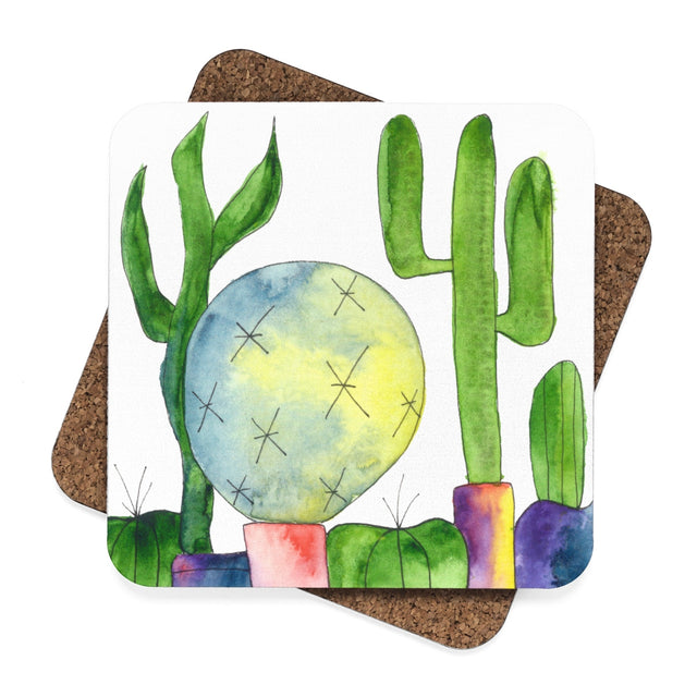 Cactus Family E Hardboard Coaster Set - 4pcs, Home Decor - Gravitational Pull Art