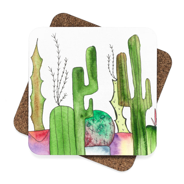 Cactus Family D Hardboard Coaster Set - 4pcs, Home Decor - Gravitational Pull Art