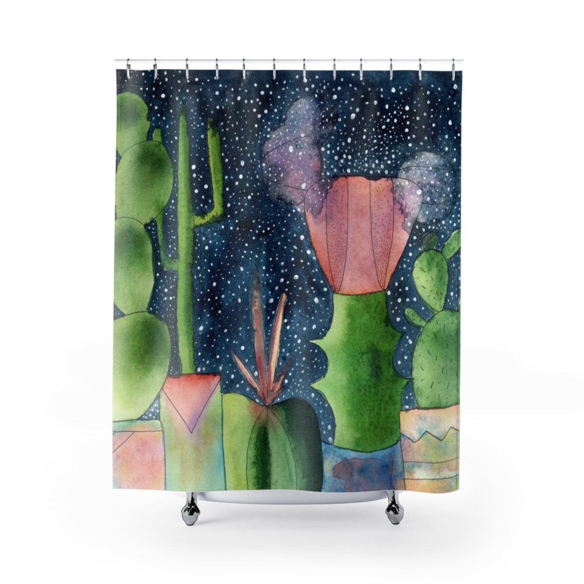 Ruby Ball Cactus Watercolour Shower Curtain, Home Decor - Gravitational Pull Art
