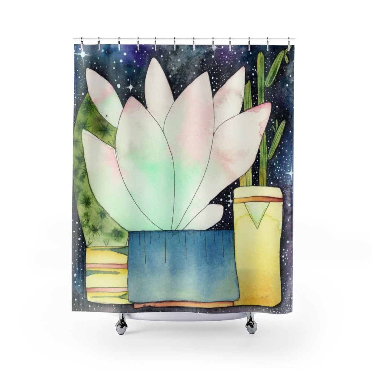 Pink Succulent Watercolour Shower Curtain, Home Decor - Gravitational Pull Art
