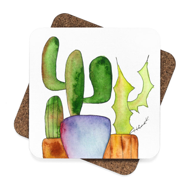 Cactus Family C Hardboard Coaster Set - 4pcs, Home Decor - Gravitational Pull Art