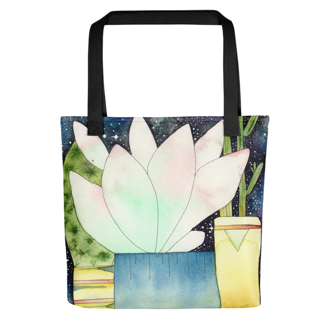 Pink Watercolour Succulent Tote Bag,  - Gravitational Pull Art