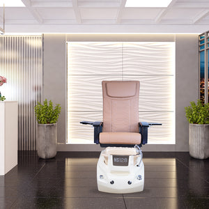 NS128-V2 - Light Cream Tub & Metallic Beige Sink with Massage Chair 299-V2 - New Star Spa & Furniture