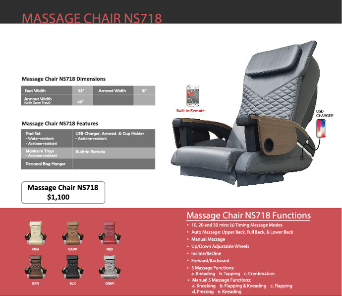 Pedicure Massage Chair NS-718 - New Star Spa & Furniture