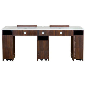 "YC Double Nail Table 72 7/8"" With Vent - New Star Spa & Furniture"