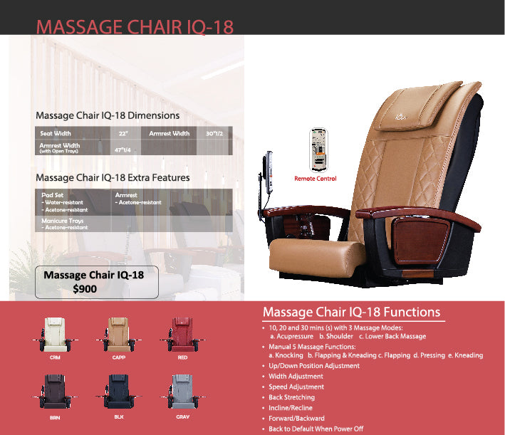 Pedicure Massage Chair IQ-18 - New Star Spa & Furniture
