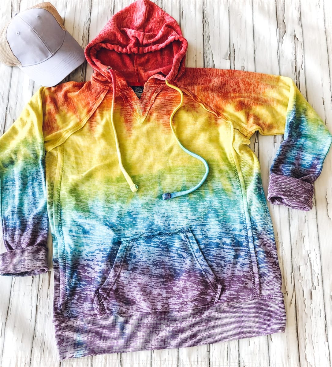 Tie Dye Burnout Hooded Pullover--Womans & Youth