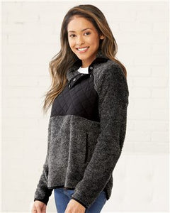 TK590 Women's Quilted Fuzzy Fleece Pullover