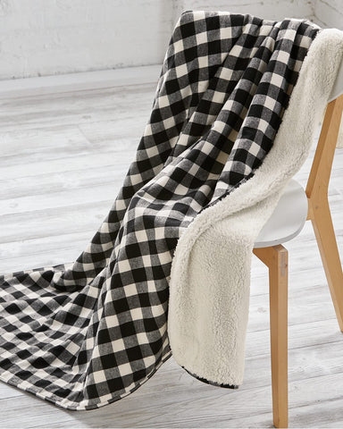 TK589 Plaid Sherpa Blanket